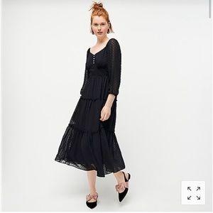 NWT Jcrew Tiered Midi Dress in Swiss dot, 6